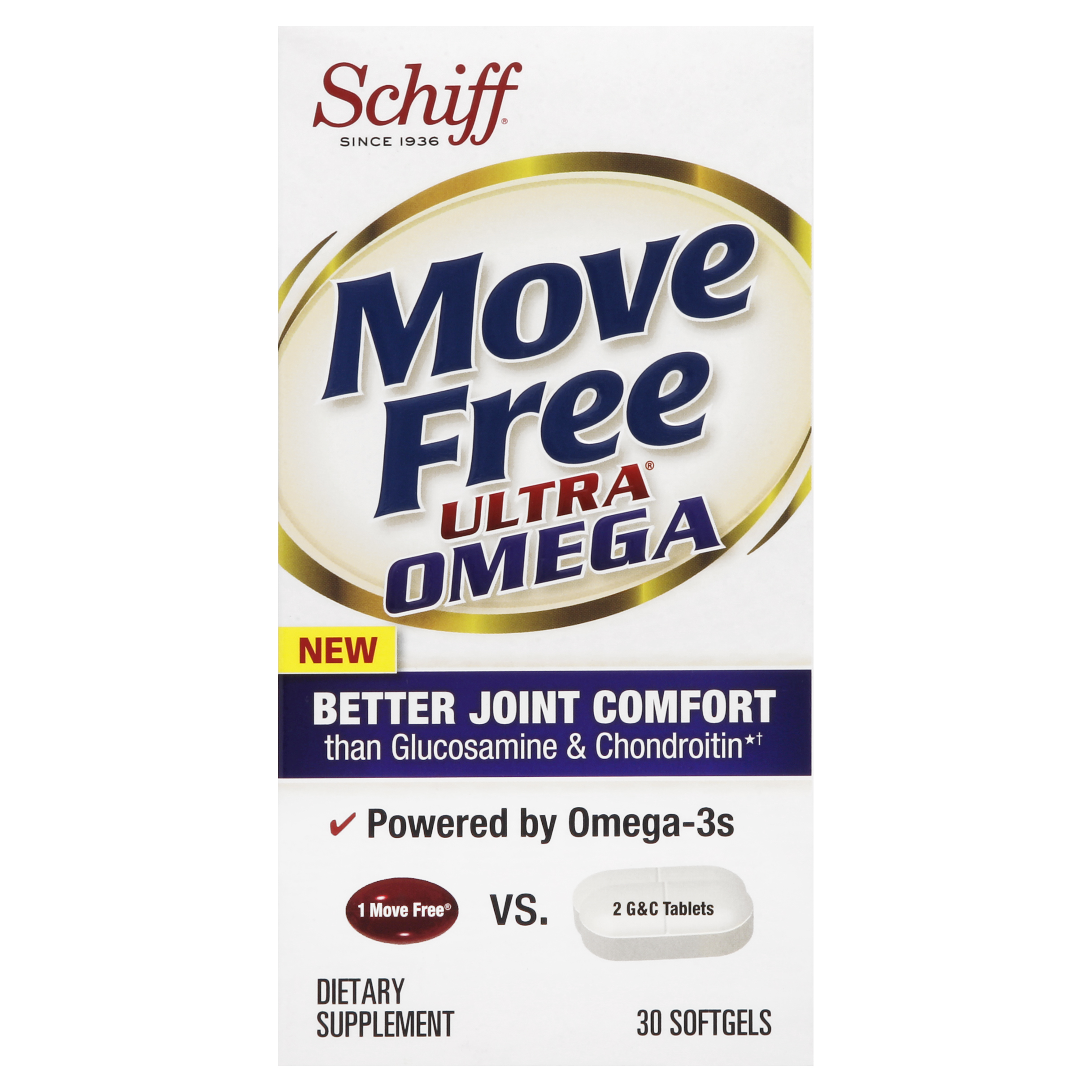 Move Free Ultra Omega Omega 3 Krill Oil, Hyaluronic Acid and Astaxanthin Joint Supplement, 30 Count