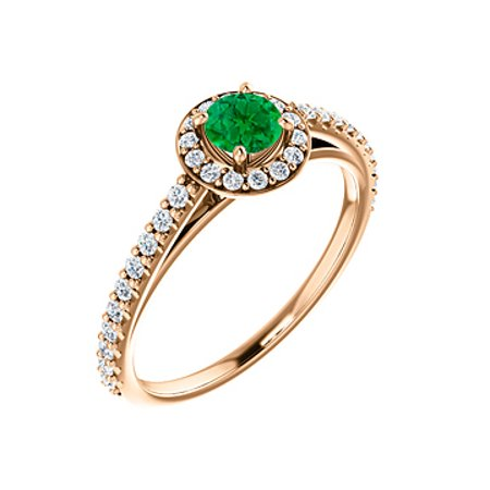 Brilliant Cut Emerald Cubic Zirconia in 14K Rose Gold - image 6 of 8