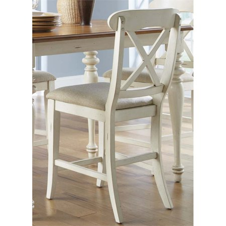 "Liberty Furniture Ocean Isle 24"" X Back Counter Stool in Bisque - image 9 de 9"