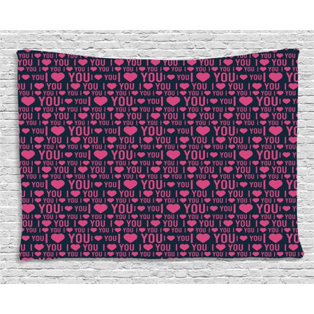 I Love You Tapestry, Romance Pattern with Heart Forms and Love Quote Valentines Couples Theme, Wall Hanging for Bedroom Living Room Dorm Decor, 60W X 40L Inches, Magenta Dark Grey, - Themes For Couples