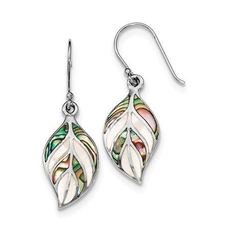 Sterling Silver Leaf MOP and Abalone Dangle Shepard Earrings (35.5 x 13 MM) (Mop Dangle)