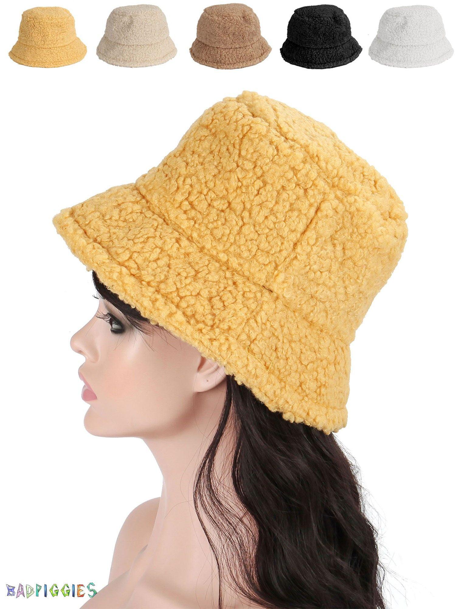 Bad Piggies Badpiggies Women Winter Bucket Hat Adjustable Vintage Cloche Hats Warm Faux Fur Wool Outdoor Fisherman Cap Yellow Walmart Com Walmart Com