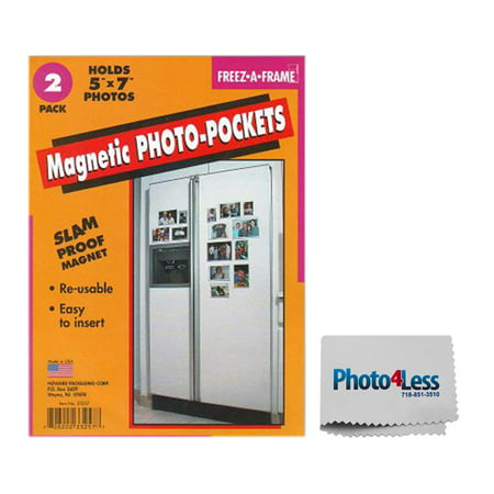 Exclusive Package! Pack of 2 Freez-A-Frame Magnetic 5 x 7 Photo Frames + Photo4less Cleaning Cloth!](Magnetic Photo Frame)