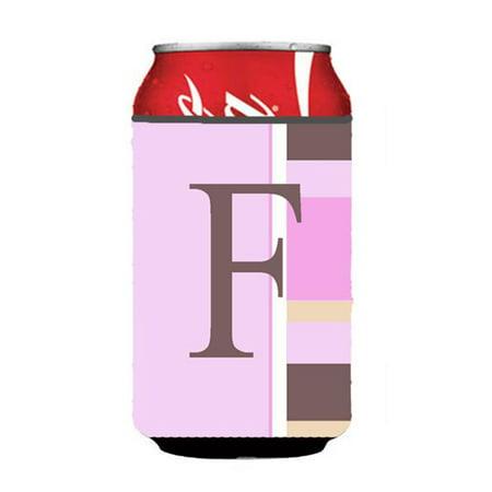 Letter F Initial Monogram - Pink Stripes Can or Bottle  Hugger - image 1 de 1