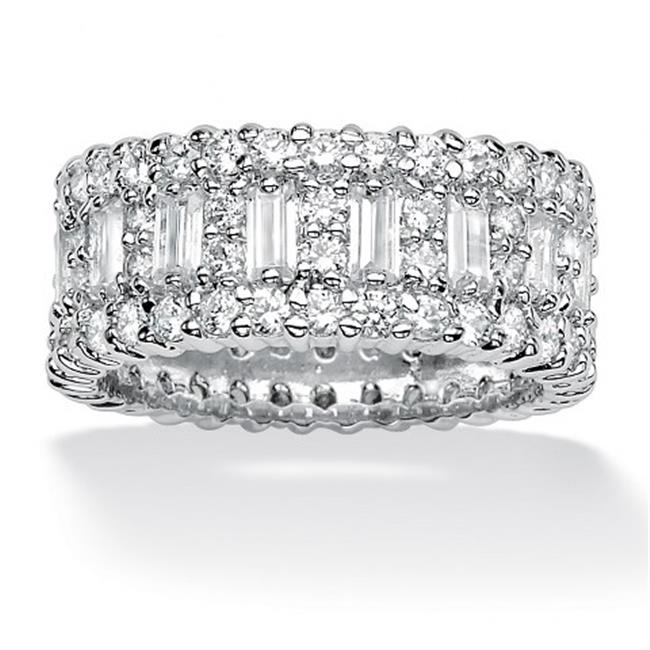 PalmBeach Jewelry 490988 4. 80 TCW Emerald-Cut Cubic Zirconia Platinum Over Sterling Silver Eternity Band Ring - Size 8