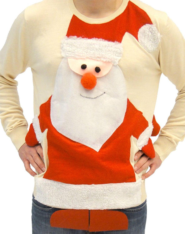 Costume Agent Ugly Christmas Sweater Santa Claus Full Body Adult Beige Sweater Walmart Com Walmart Com