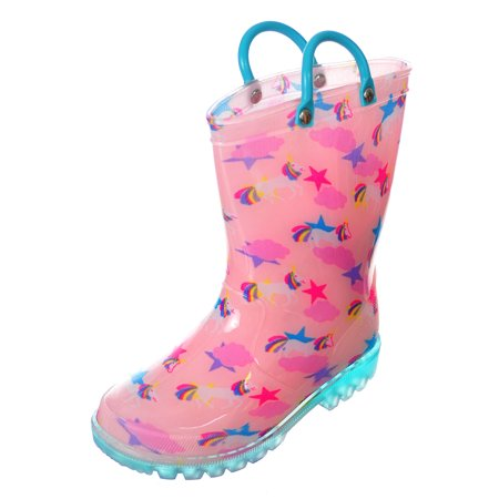 Size 12 Girls (Lilly Girls' Light-Up Rubber Rain Boots (Sizes 5 -)