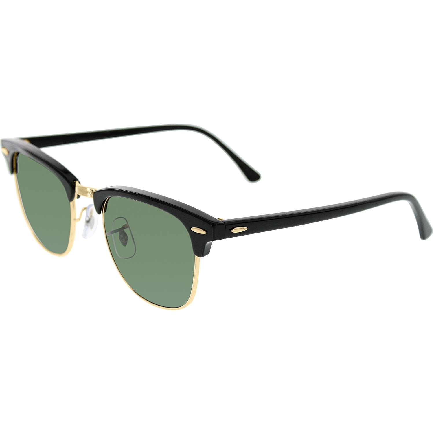 ray ban clubmaster rb3016 w0365 49 sunglasses  ray ban men's clubmaster rb3016 w0365 49 black semi rimless sunglasses