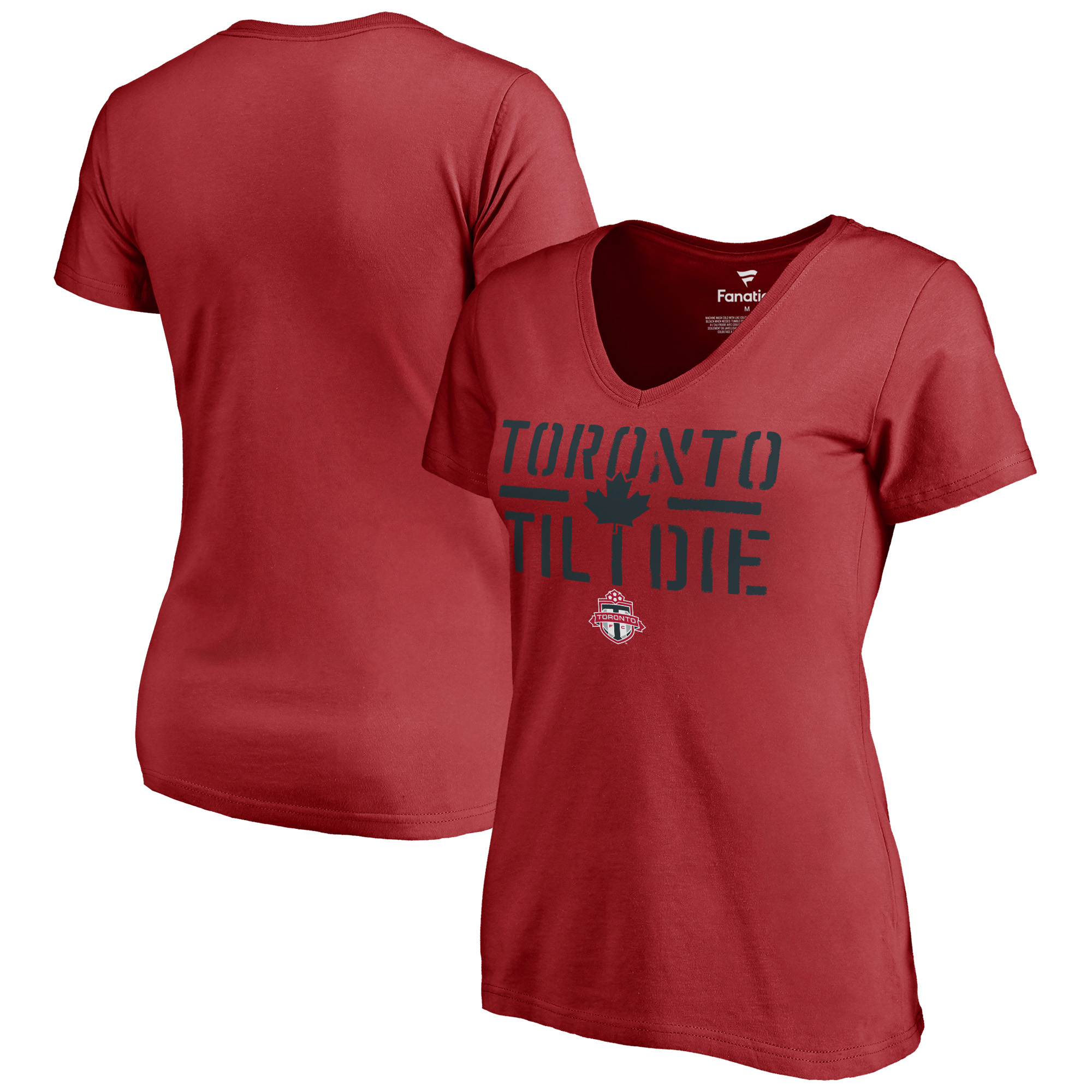 Toronto FC Fanatics Branded Women's Hometown Collection Til I Die V-Neck T-Shirt - Red
