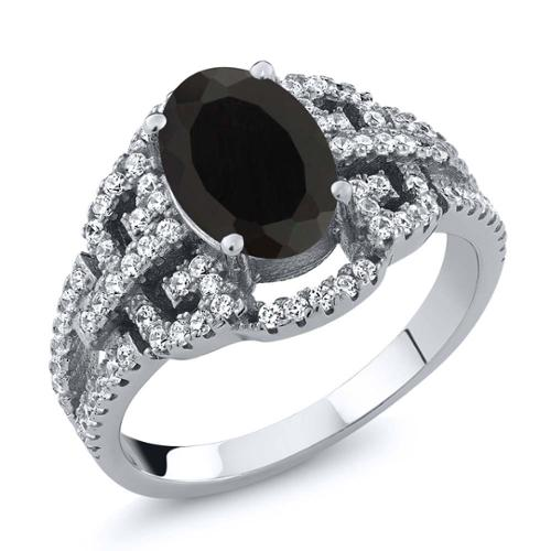 1.65 Ct 9x7mm Oval Natural Black Onyx 925 Sterling Silver Ring