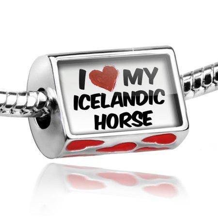 Bead I Love My Icelandic Horse Charm Fits All European Bracelets