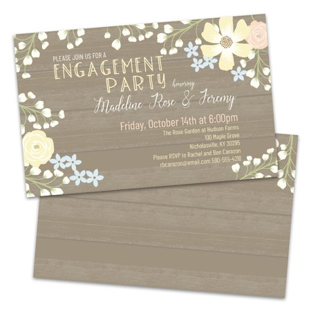 Halloween Engagement Party Invitations (Personalized Floral Border Engagement Party)