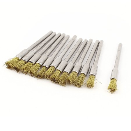 12 Pieces 1/8inch Shank 5mm Pen Brass Bristle Brush for Rotary Tool