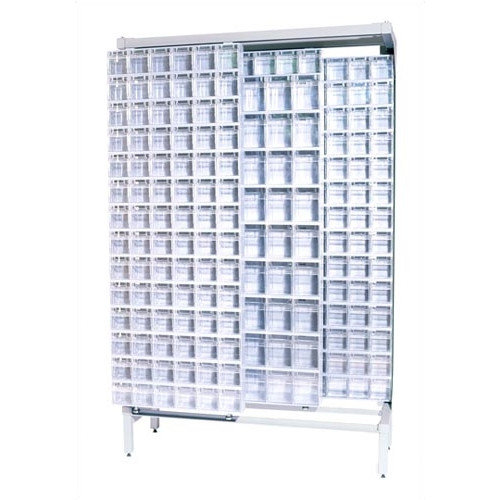 Quantum Storage Free Standing Slider Storage System with 5 and 6 Compartment Tip Out Bins