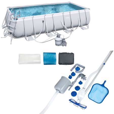 Bestway 18 x 9 Foot Rectangular Frame Above Ground Pool Set + Pool Cleaning Kit