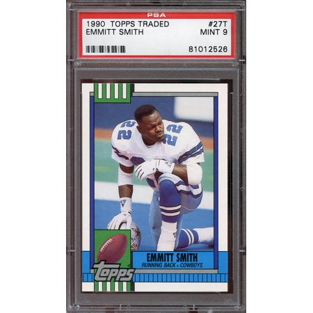 1990 topps traded #27t EMMITT SMITH dallas cowboys rookie card PSA (Emmitt Smith Autographed Pro Football)
