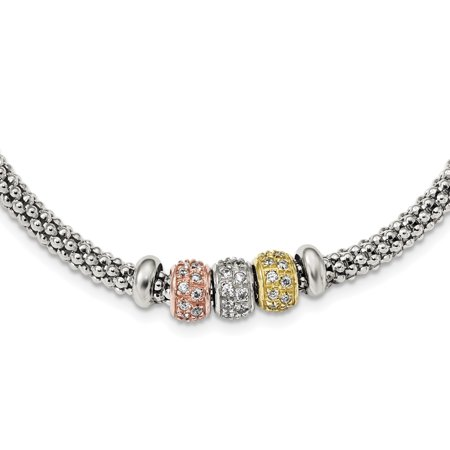 Tone Mesh Chain - 925 Sterling Silver Rose Yellow Gold Tone Cubic Zirconia Cz Beads Link Mesh Chain Necklace Pendant Charm Gifts For Women For Her
