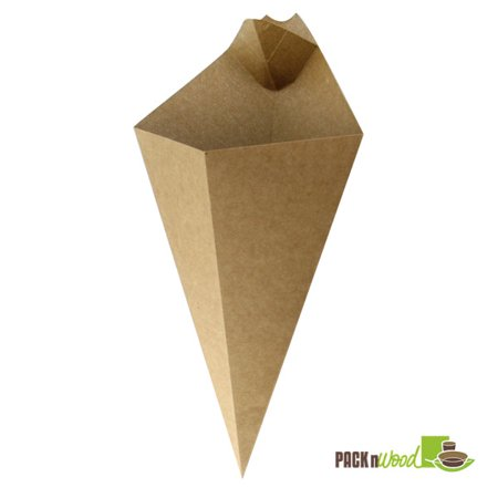"""Pack N Wood 210CONFR3KR, 11"""" x 6.5"""", Kraft Paper Cone w/ Sauce Compartment, 500/CS (Paper Cones)"""