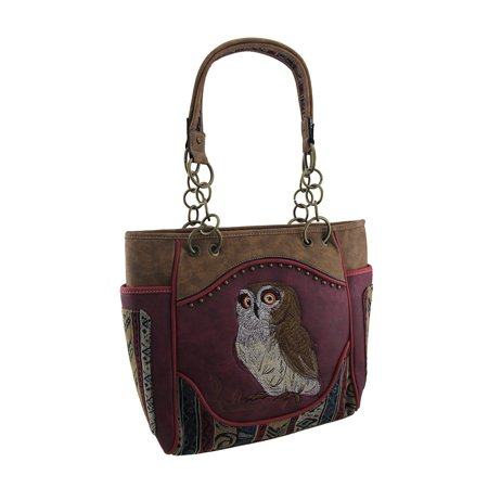 Brown Faux Leather Embroidered Owl Concealed Carry Shoulder Bag Tote](Owl Bag)