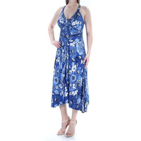- INC Womens Blue Floral Sleeveless V Neck Tea Length Trapeze Dress  Size: M