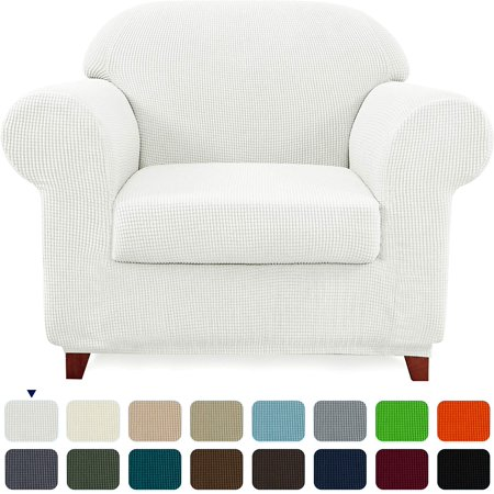 Subtrex Stretch 2-Piece Textured Grid Armchair Slipcover, Off-white