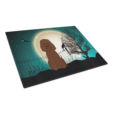 Caroline's Treasures Halloween Scary Irish Water Spaniel Glass Cutting Board Large - Halloween Svg Cutting Files