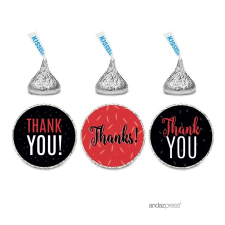 Custom Label Chocolate - Signature Black, White, Red, Chocolate Drop Labels Stickers, Thank You, 216-Pack
