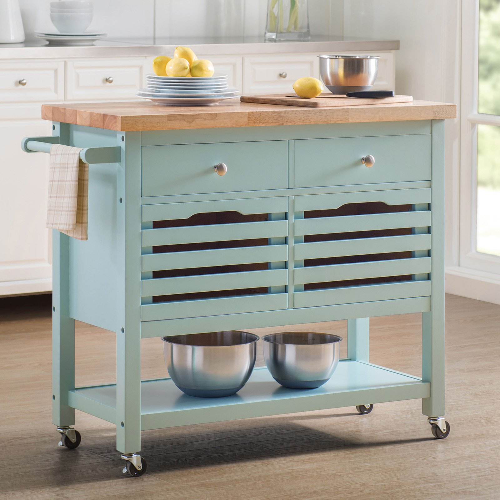 Sunjoy New Jaden Portable Kitchen Island Cart - Walmart.com