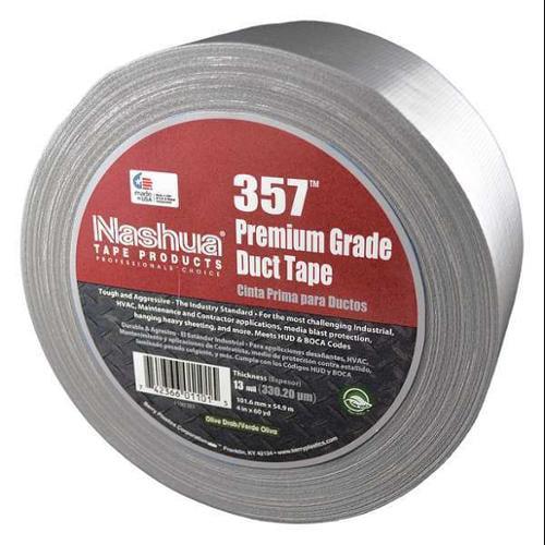NASHUA 1086146 Duct Tape, 4 in. W, 60 yd. L, Silver, PK12