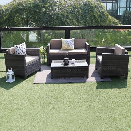 Outdoor Patio Furniture Set,Wisteria Lane 4 Piece Rattan Wicker Sofa Cushioned with Coffee Table, Grey ()
