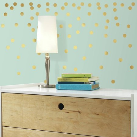 Roommates gold confetti dots peel and stick wall decals for Peel and stick wallpaper walmart