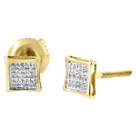 10K Yellow Gold Round Diamond Pave Set Mini Kite Stud Earrings 0.05 Ct.