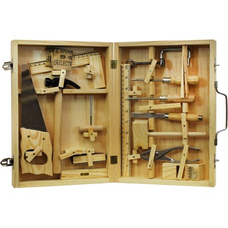 Metal Tool Kit with Wood Box, 16-Piece
