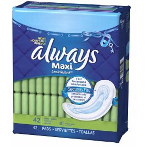 Always Maxi Pads Without Wings, Long-Super 42 ea (Pack of 3)