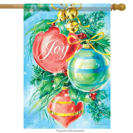 Shining Ornaments Christmas House Flag Joy Bells Holiday 2 Sided (Ornaments House Flag)