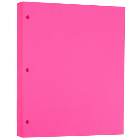 JAM Paper Bright Color Paper, 8.5 x 11, 24 lb Brite Hue Ultra Fuchsia Pink 3 Hole Punch, 100 Sheets/pack
