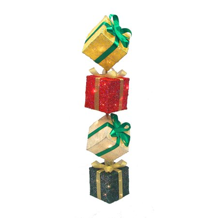 45 lighted sparkling sisal gift box tower christmas yard art decoration