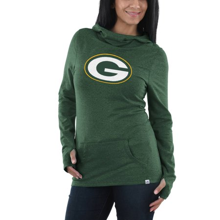 Green Bay Packers Majestic Women's Great Play Pullover Hoodie - Heathered Green Great Outdoors Bay