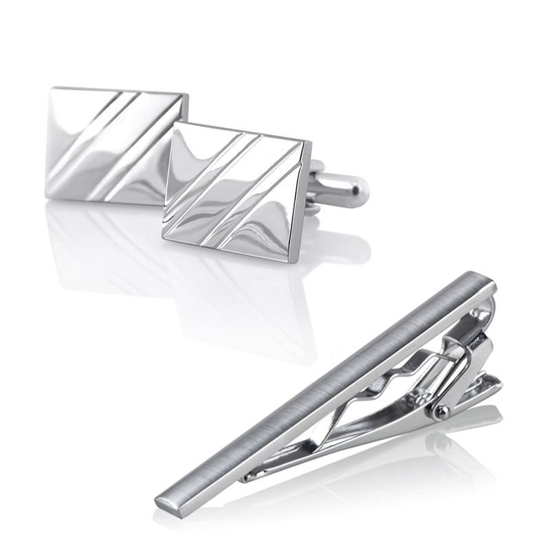Zodaca For Men's Attire Tuxedo Silver Square Diagonal Ribbed Cufflinks+Tie Clip