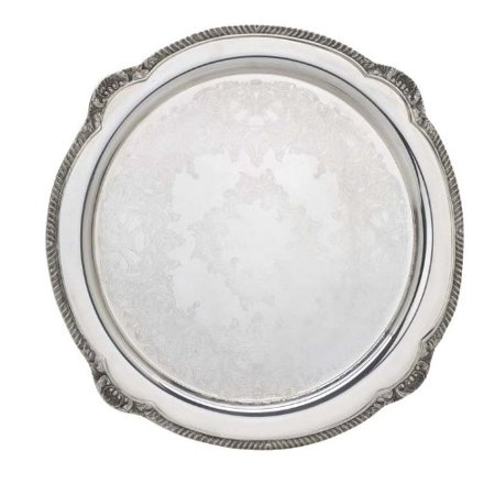 Reed & Barton Shell and Gadroon Round Tray, - Tray Gadroon Border