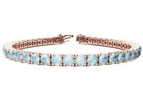7 Inch 7 1 3 Carat Aquamarine Tennis Bracelet In 14K Rose Gold by