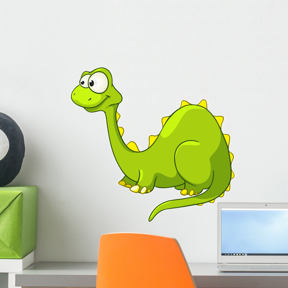 Cartoon Character Dino Wall Decal by Wallmonkeys Peel and Stick Graphic (18 in H x 18 in W) WM94772