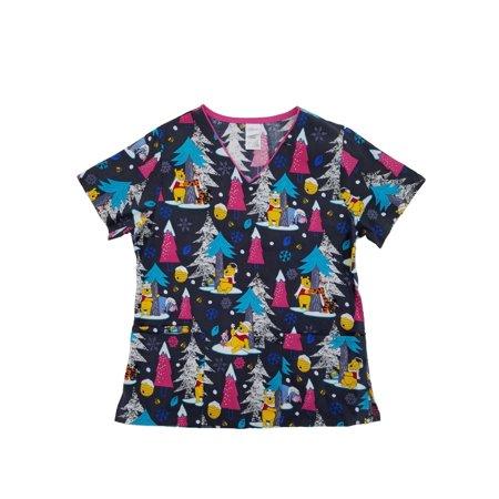 Disney Winnie The Pooh Womens Winter Medical Smock Nurse Scrubs Shirt Top
