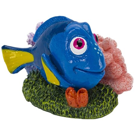 - Officially Licensed Disney's FINDING NEMO Aquarium Ornament - DORY with Pink & Purple CORAL - Mini Sized 1.6