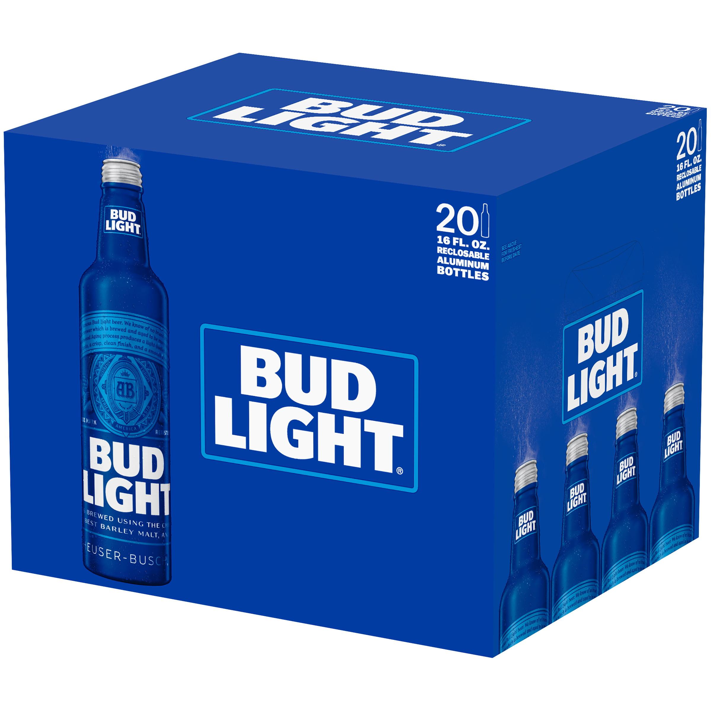 Bud Light Beer 20 Pack 16 Fl Oz Aluminum Bottles Walmart Com