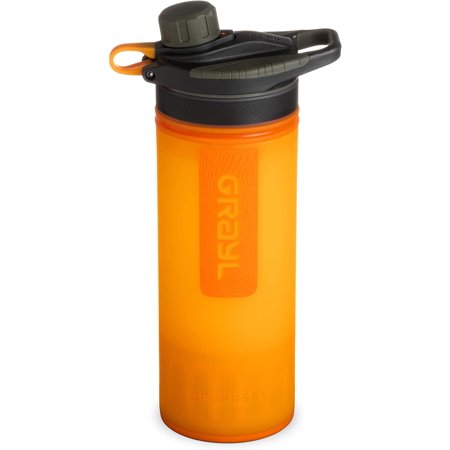 GRAYL Geopress 24 oz Water Purifier for Global Travel, Backpacking, Hiking, and Survival | Visibility Orange