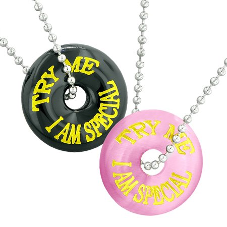 Try Me I Am Special Fun Best Friends Love Couples Amulets Pink Simulated Cats Eye Black Agate Necklaces