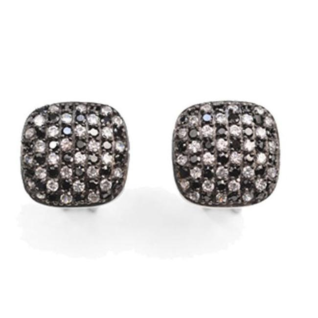 CZ EAR886-B CZ & BLACK clip-post EARRINGS
