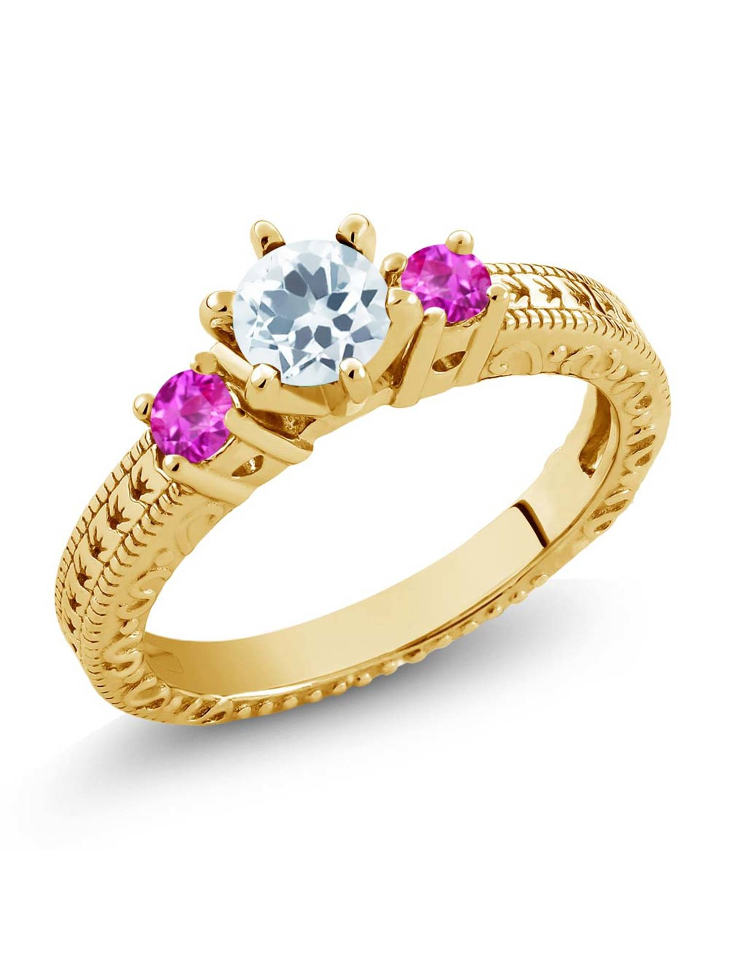 0.71 Ct Sky Blue Aquamarine Pink Sapphire 18K Yellow Gold Plated Silver 3-Stone Ring by