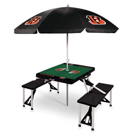 Picnic Time 811-02-175-075-2 Cincinnati Bengals - Table de pique-nique sport avec parapluie, noir - image 1 de 1